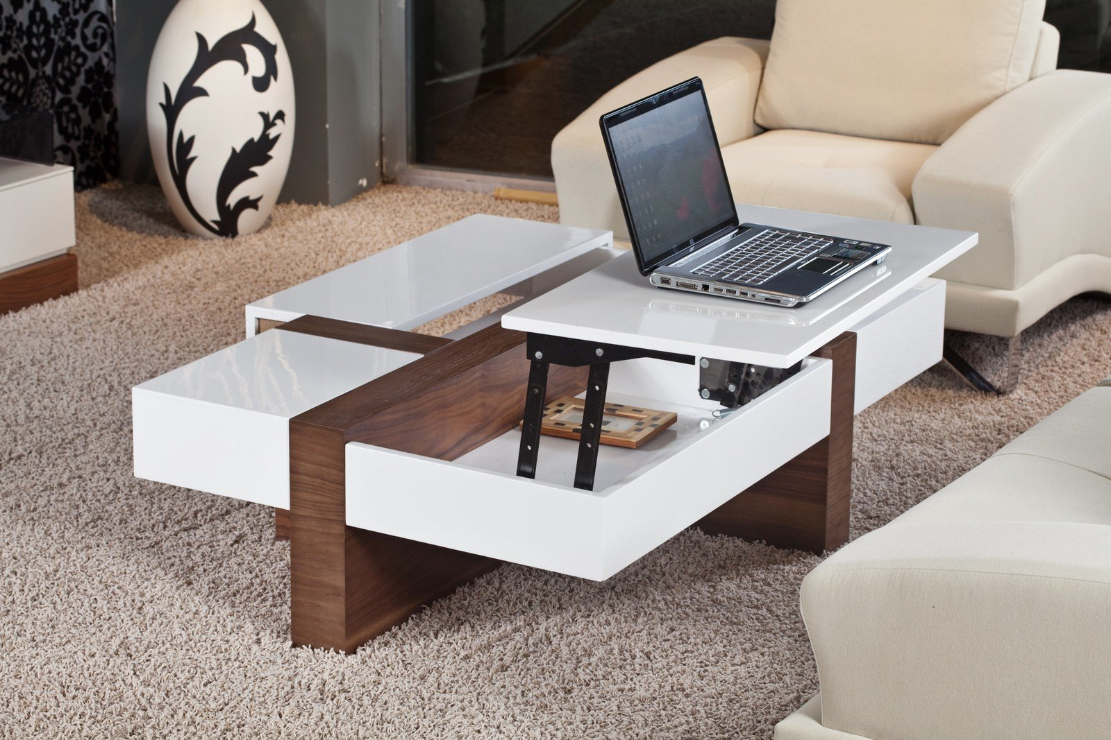Square Lift Top Coffee Table White Color
