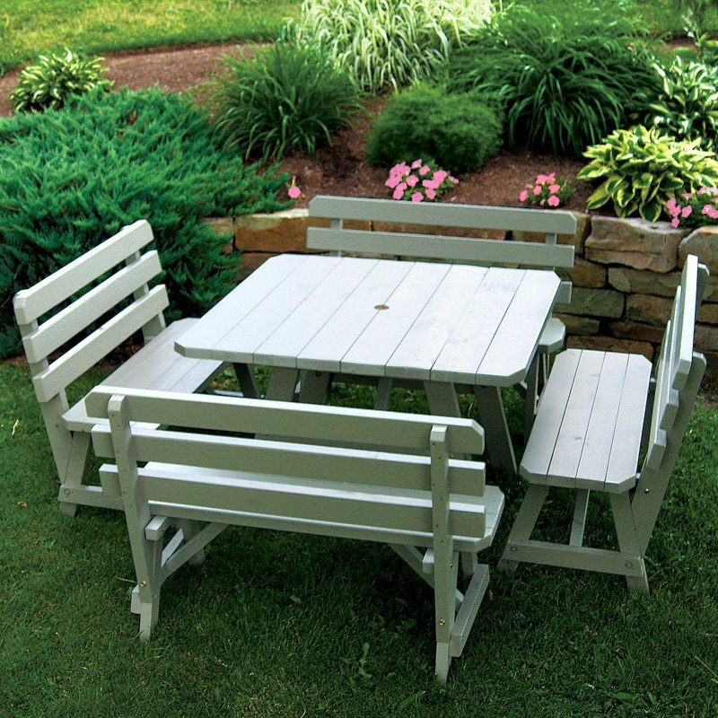 Square Picnic Table With Bench