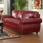 Upholstery Burgundy Leather Sofa
