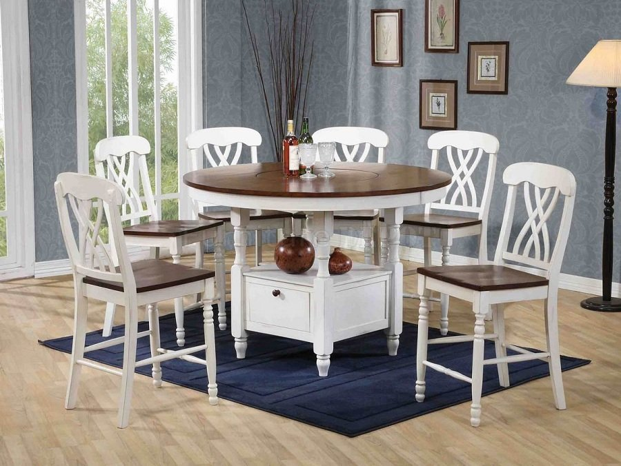 White Counter Height Dining Table Set