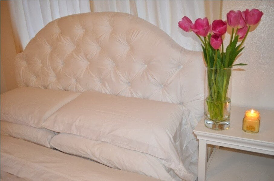 White DIY Tufted Headboard