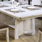 White Distressed Wood Dining Table