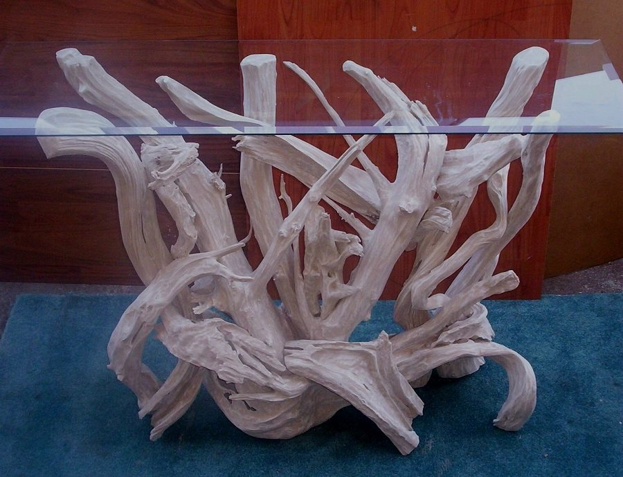 White Driftwood End Table