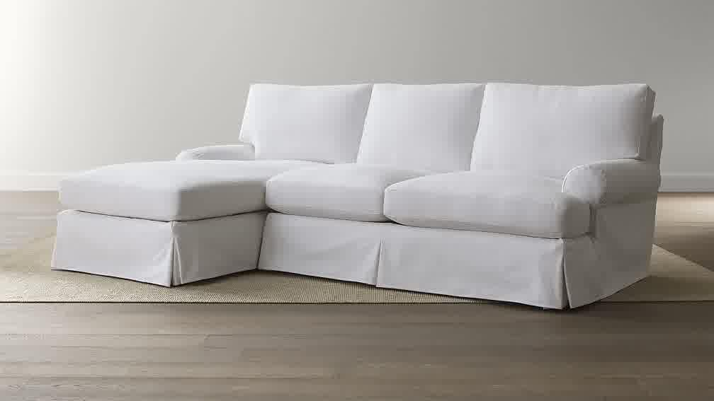 White Slipcovered Sectional Sofa