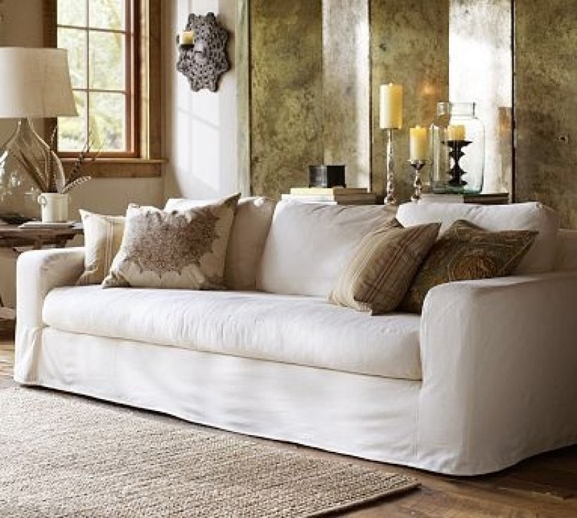 White Slipcovered Sofa Decor