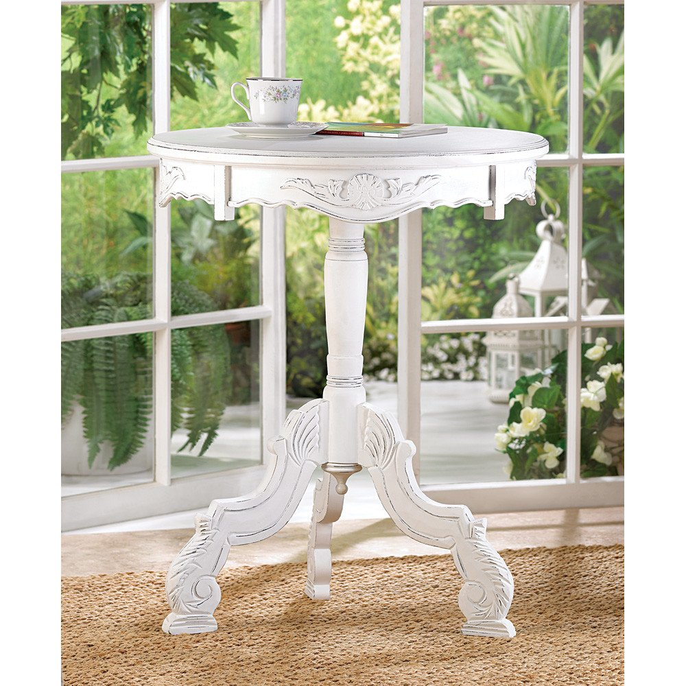 White Wood Distressed End Tables