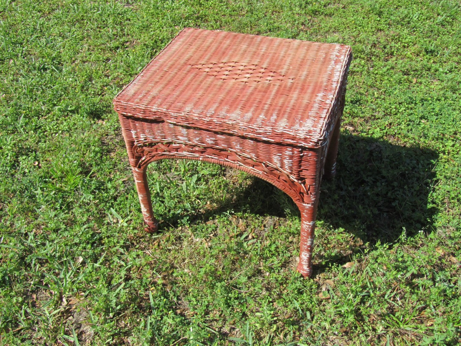 Wicker End Tables With Glass Top