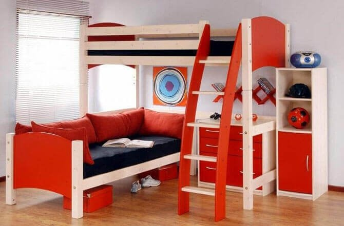 Modern Kids Bedroom Furniture With Orange Colors