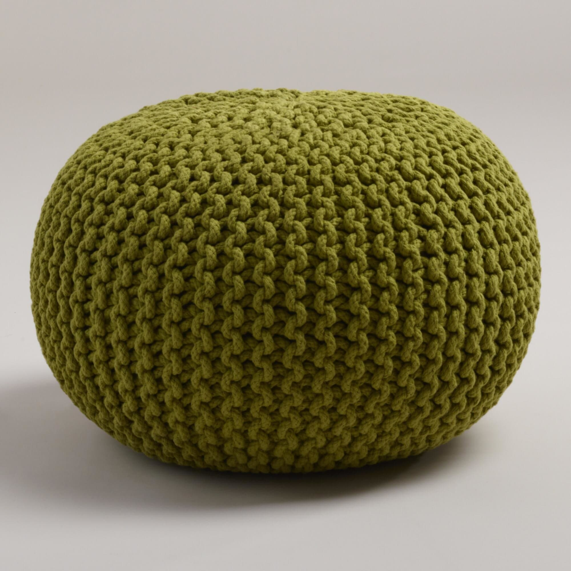 Knitted Pouf Green