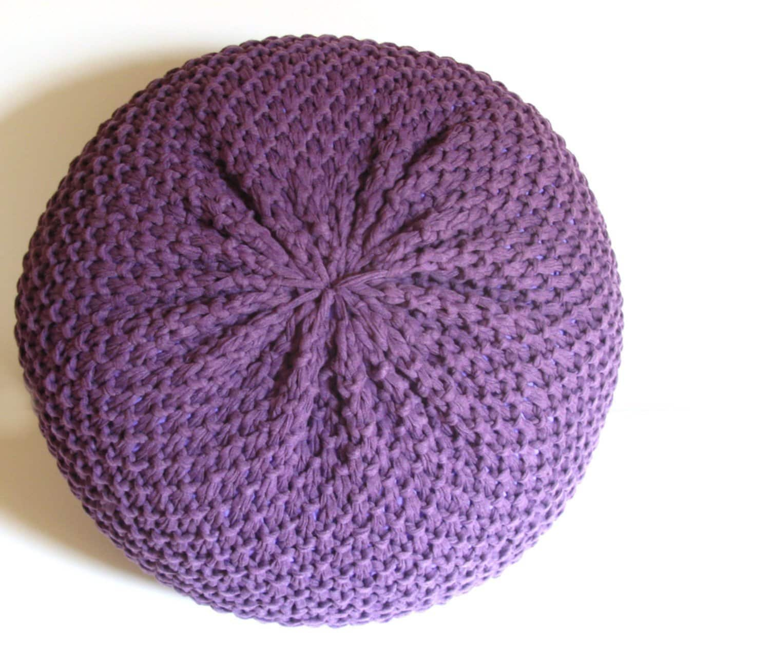 Knitted Pouf Purple
