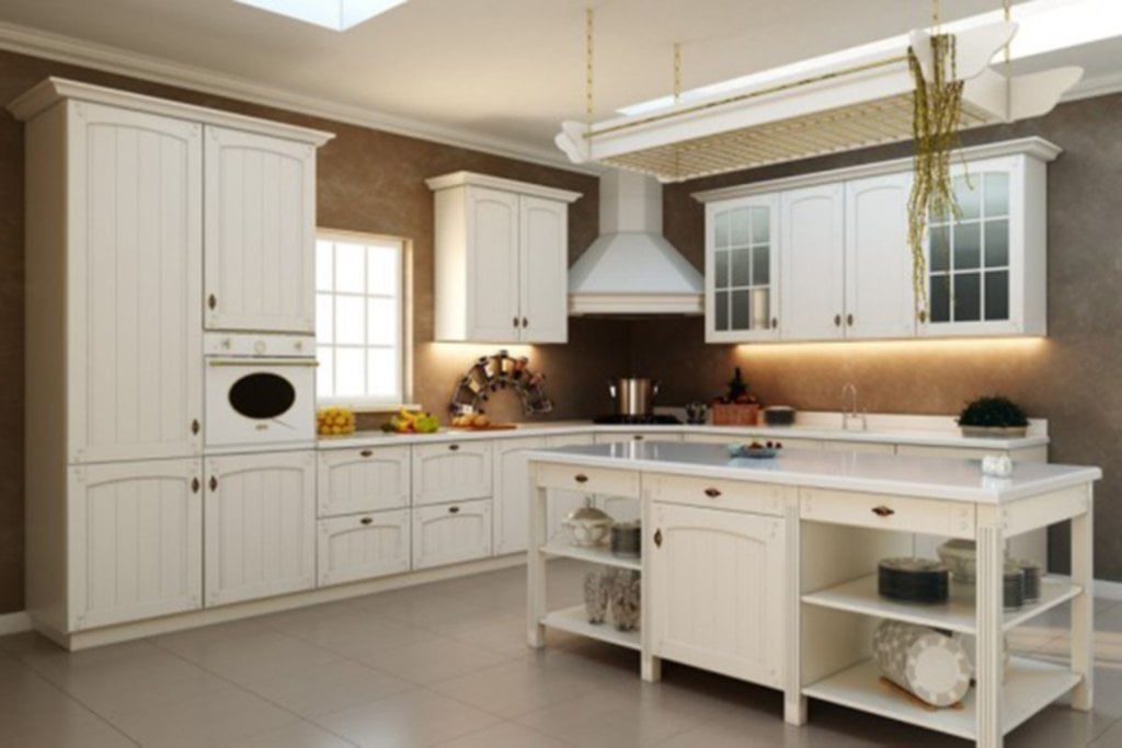 Retro Kitchen Design Idea Shaped Cream Finish Mahogany Kitchen Cabinet Bronze Floating Towel Custom Kitchen Ideas 2019