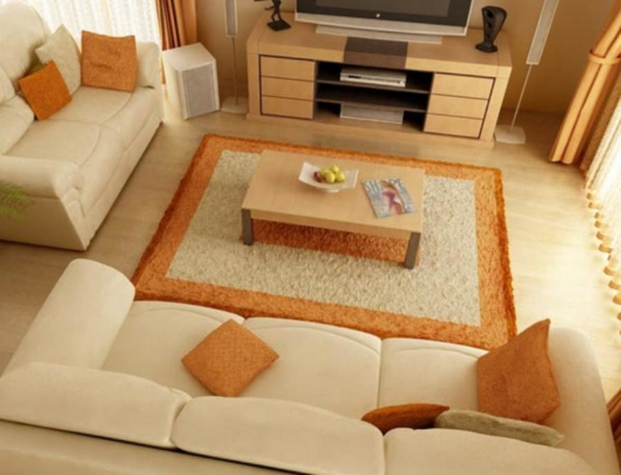 Cool Furniture Sets With Orange List Rug