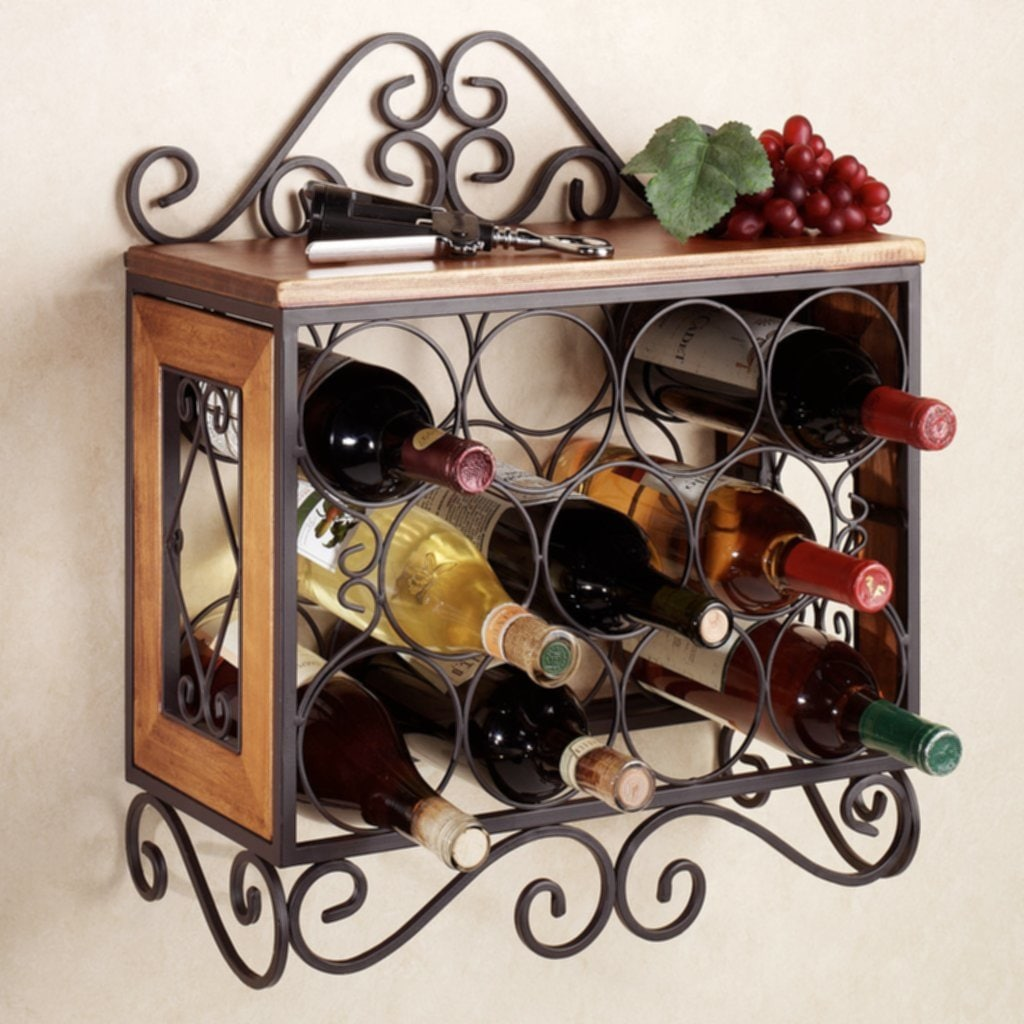 Corner Wine Rack Wood Furniture Natural Long Brown Wooden Easy Decorative Wrought Iron Bakers Rack