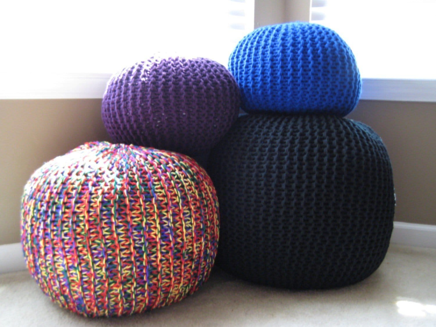 Knit Pouf In Color