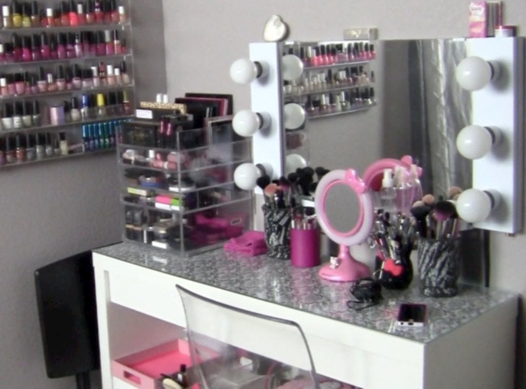 Makeup Collection Storage Vanity Tour Featuring Creative Corner Kitchen Table