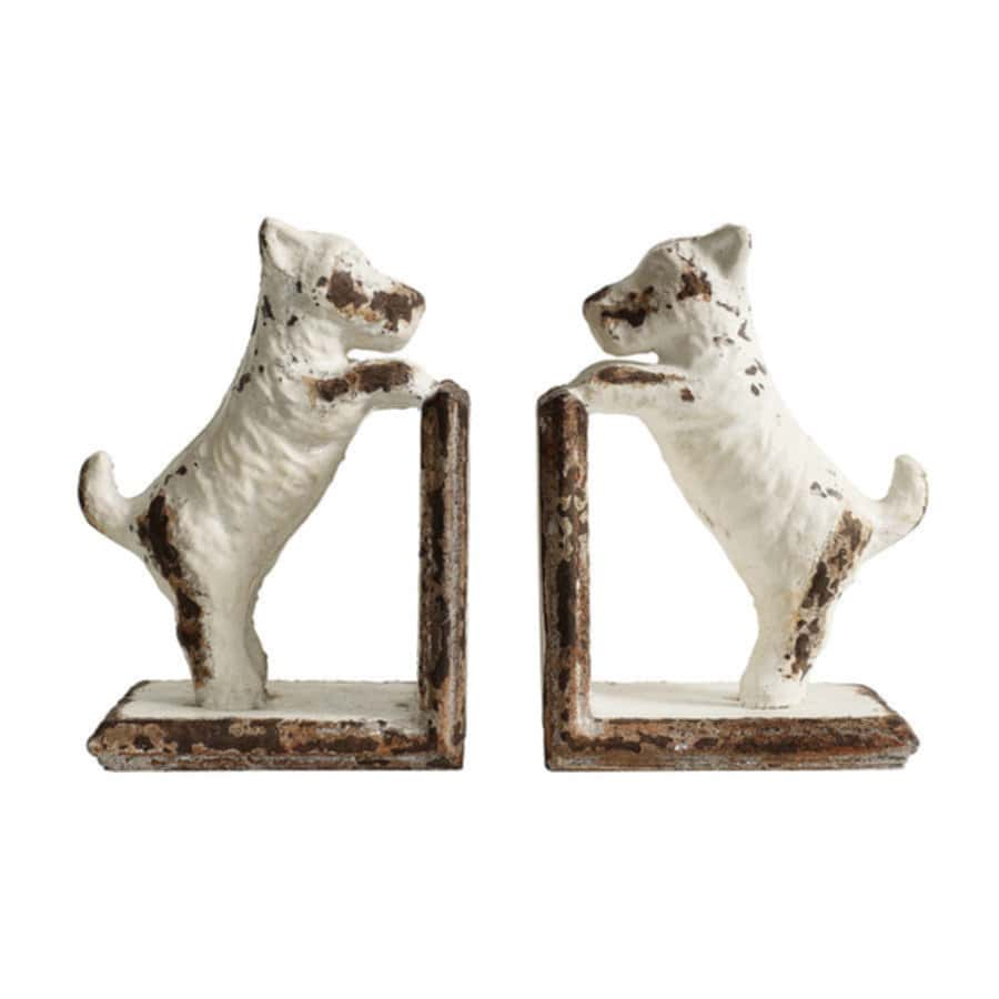 White Dog Bookends