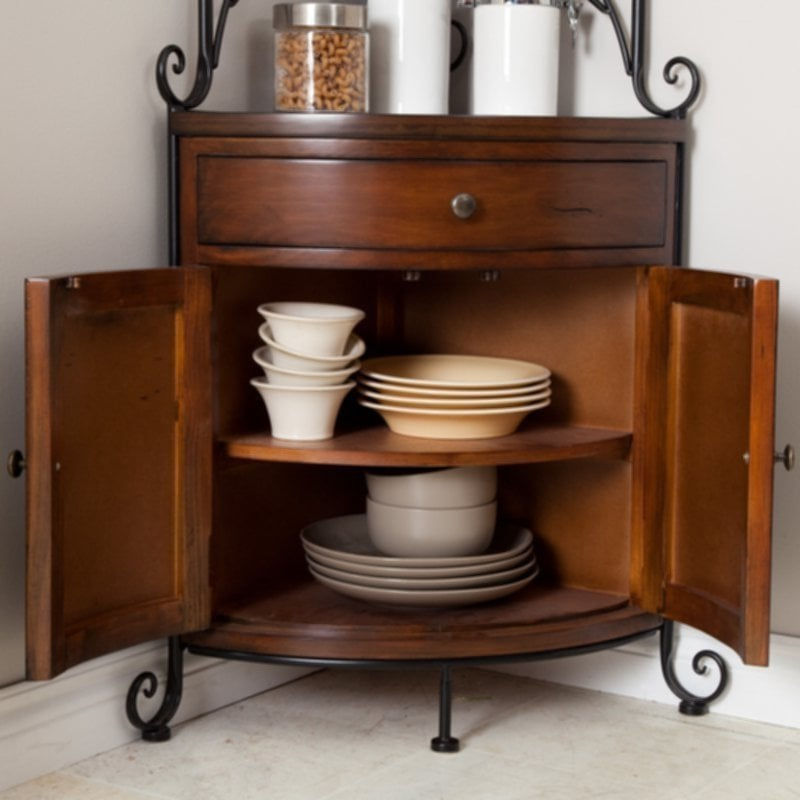 Wrought Iron Baker Rack Kitchen Wood Metal Corner Storage Easy Decorative Wrought Iron Bakers Rack
