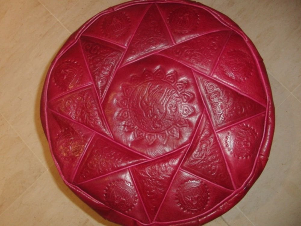 Moroccan Genuine Leather Pouf Red Handmade Ottoman How To Clean Leather Poufs