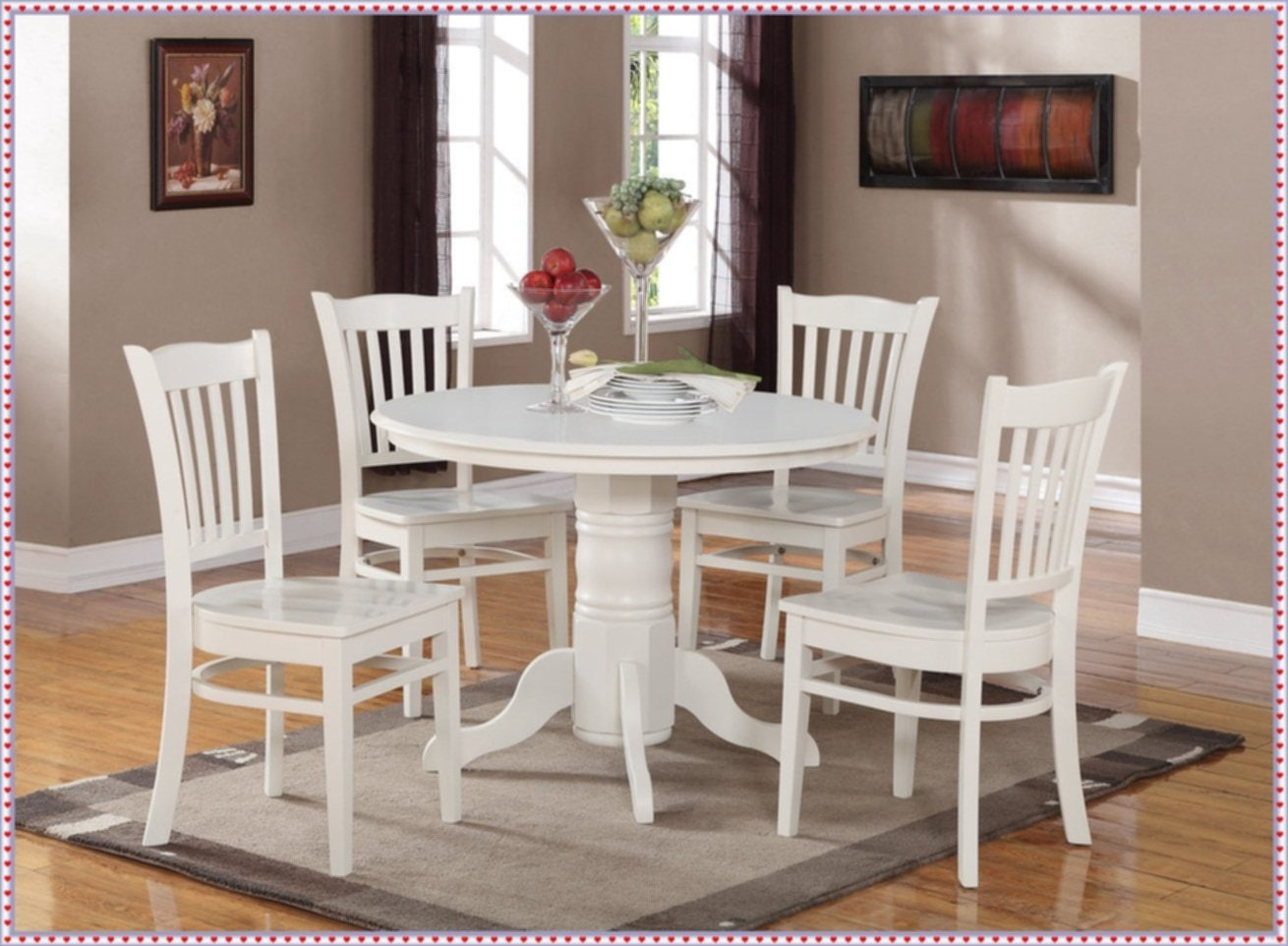 White Round Kitchen Table Set