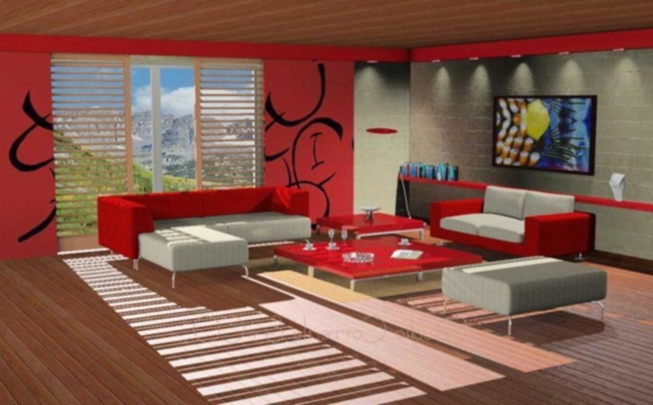 Red Living Room Ideas Modern