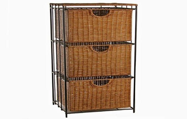 Rolling Wicker File Cabinet