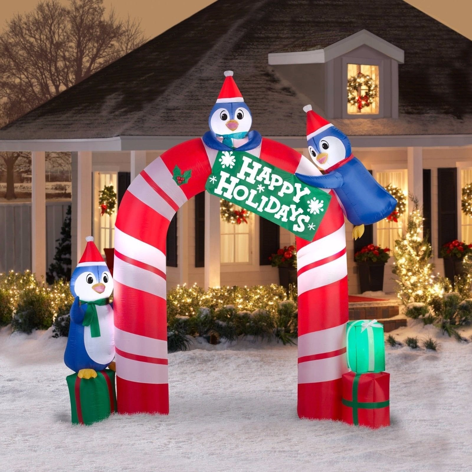 outdoor penguins christmas decorations decoration image idea christmas front home candy gate