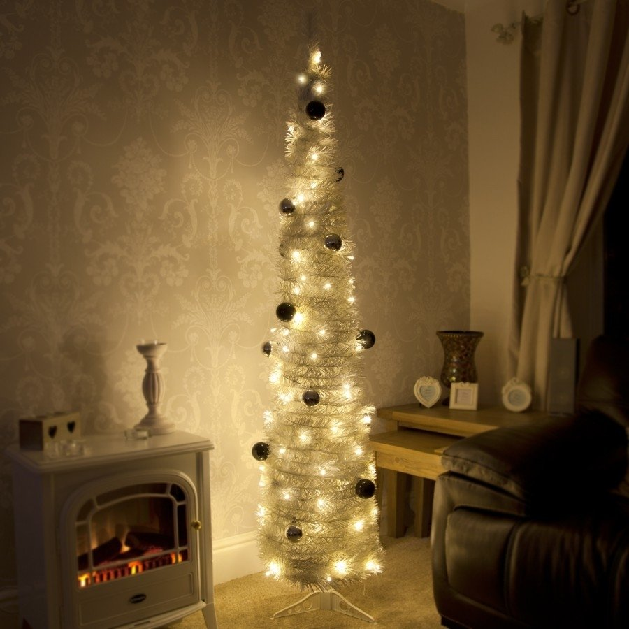 Decoration Ideas Gorgeous Slim White Pre Lit Christmas Tree