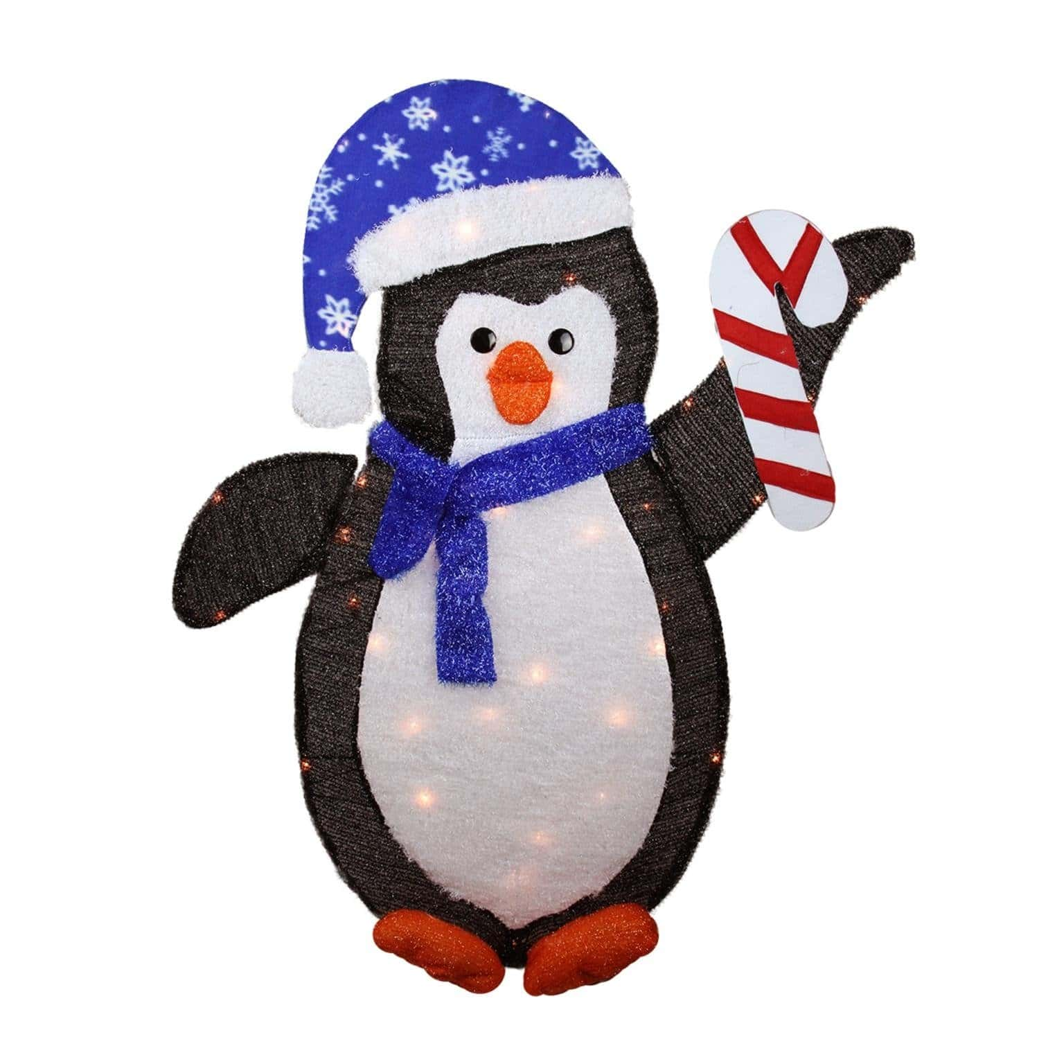 lighted winter penguin with santa hat outdoor christmas yard