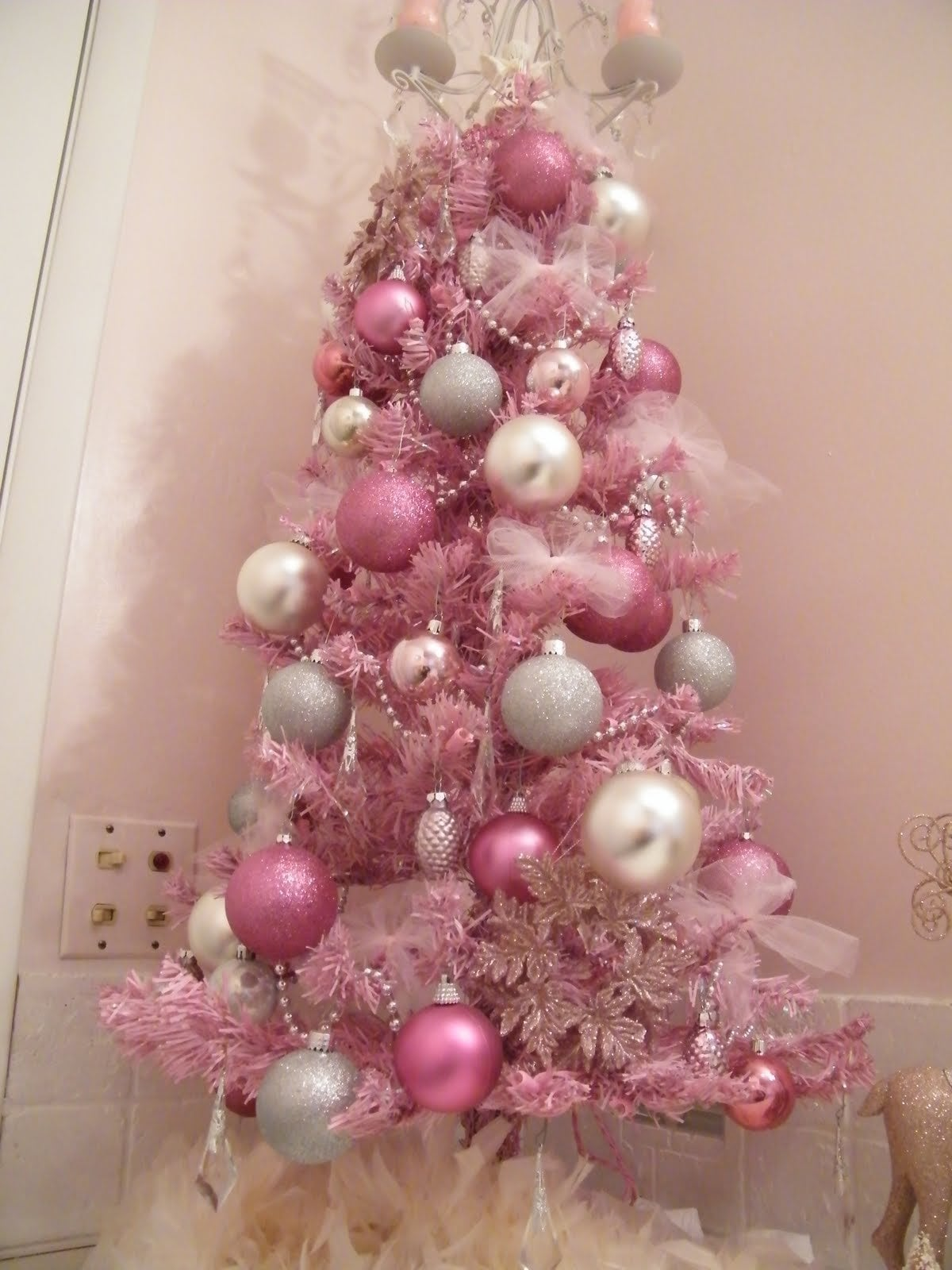 White Christmas Tree With Pink Decorations Bedroom Furniture