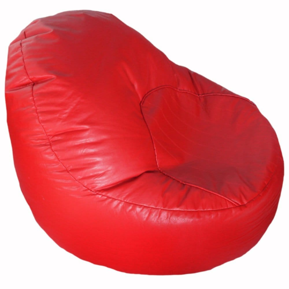 Oval Red Faux Fur Bean Bag Chair
