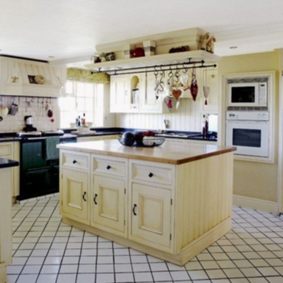 Soft Color Country Kitchens With Islands