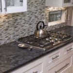 Black Granite Countertop Kitchen Backsplash Idea Simple Cutting Edge Granite