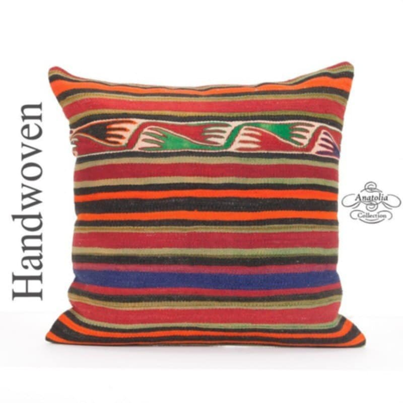 Oriental Kilim Pillow Cover 24x24 Quot Large Striped Anatolian Attractive Ottoman Poufs