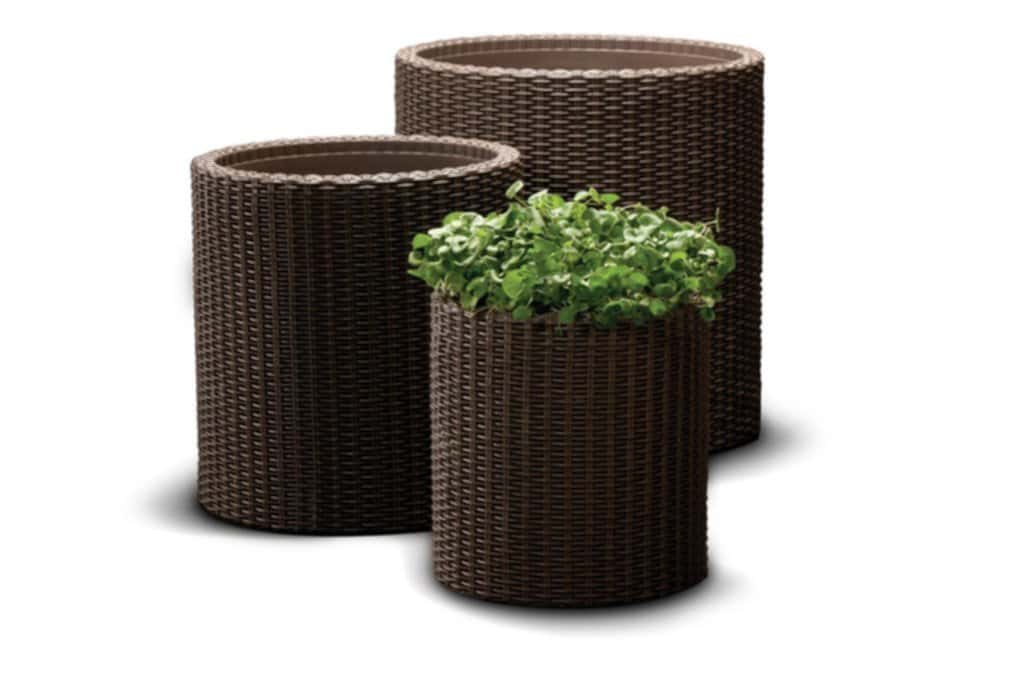 Cylinder Planter 3 Size Set Keter Knitted Pouf Ottoman