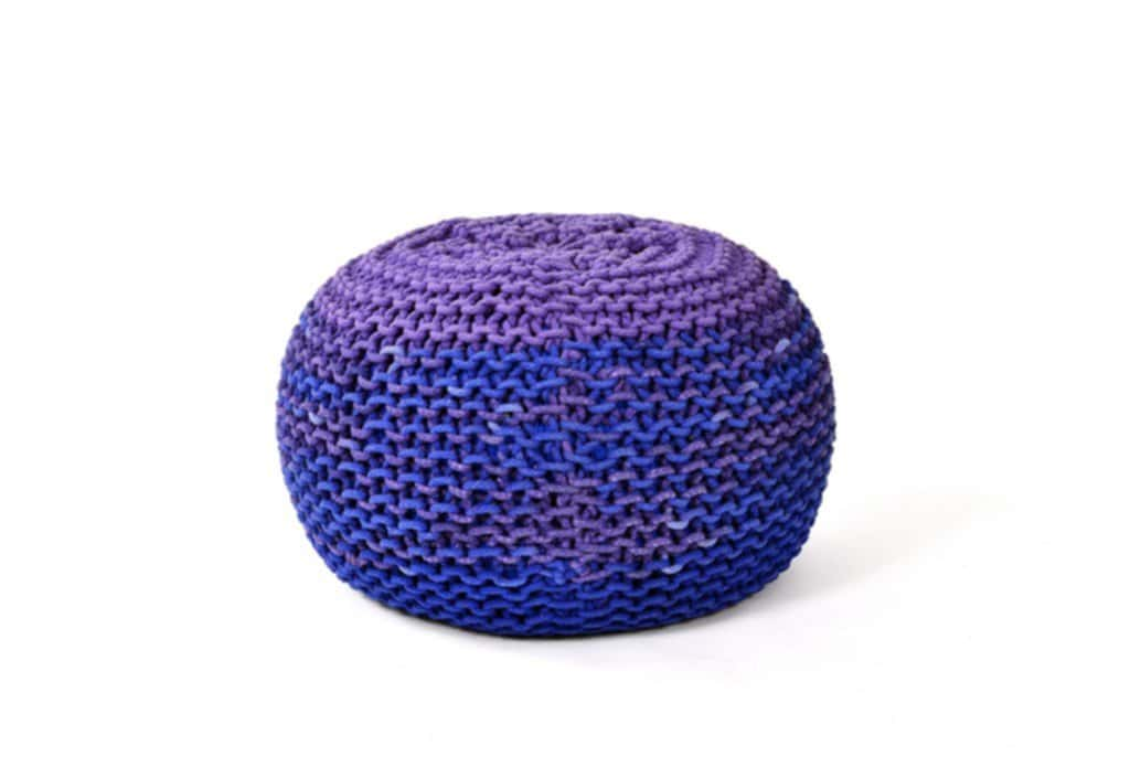 Furniture Toned Knitted Pouf Home Accessory Knitted Pouf Ottoman