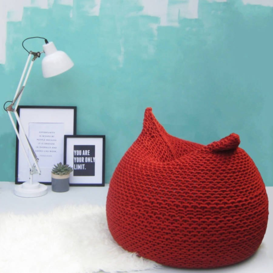 Hand Knitted Short Bean Bag Jessica Lee Knitted Pouf Ottoman