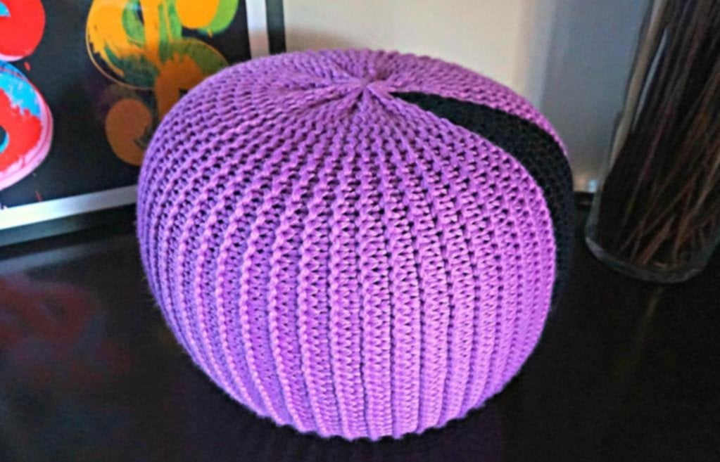 Knitted Pouf Pattern Craftsy Knitted Pouf Ottoman