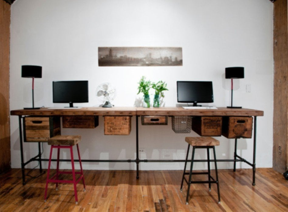 Reclaimed Wood Office Desk With Return
