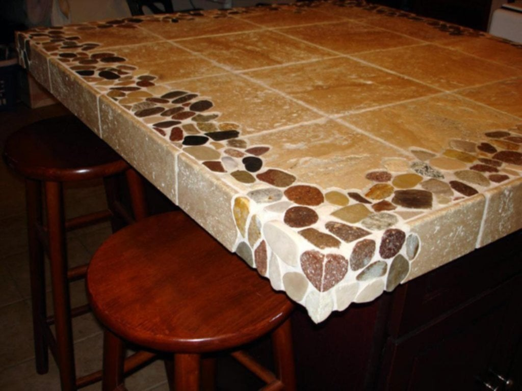 Riverstone Travertine Custom 4 39 X4 39 Kitchen Island Ideas Kitchen Tile Countertops