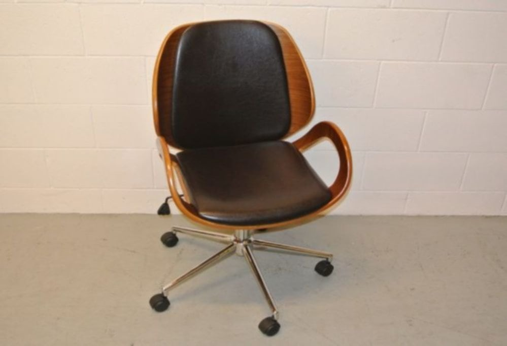 Stylish Brown Leather Office Chair
