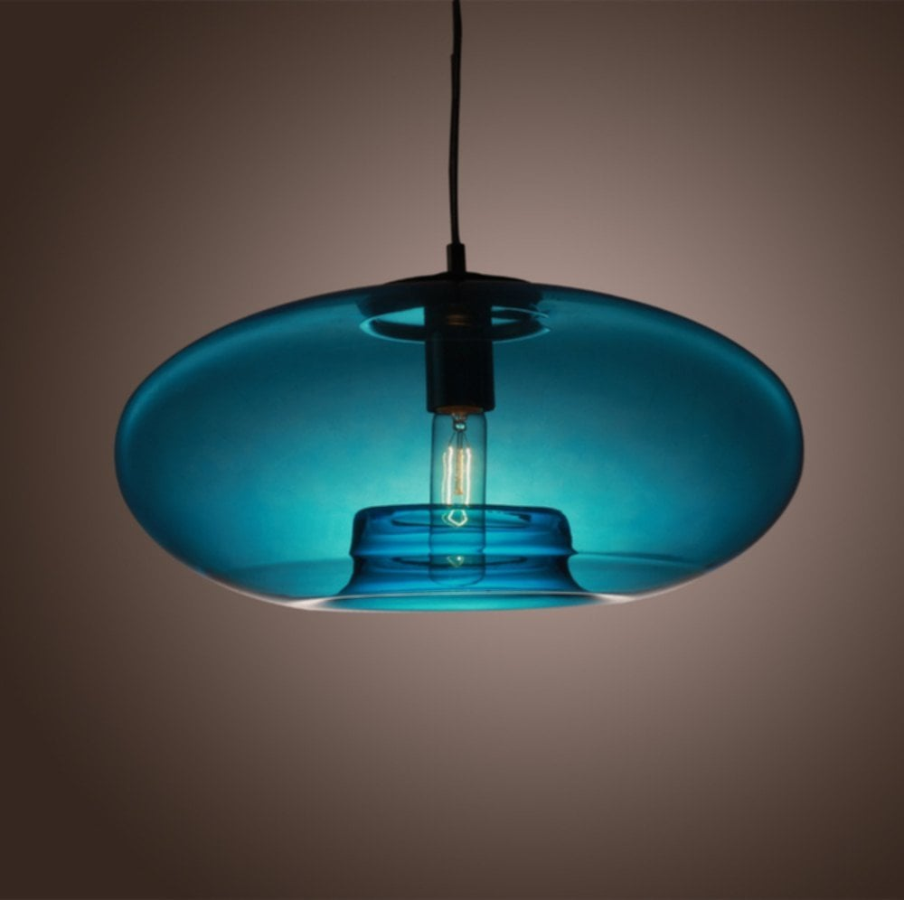 American Modern Glass Pendant Liight Blue Making Glass Lamp Shades With Cord