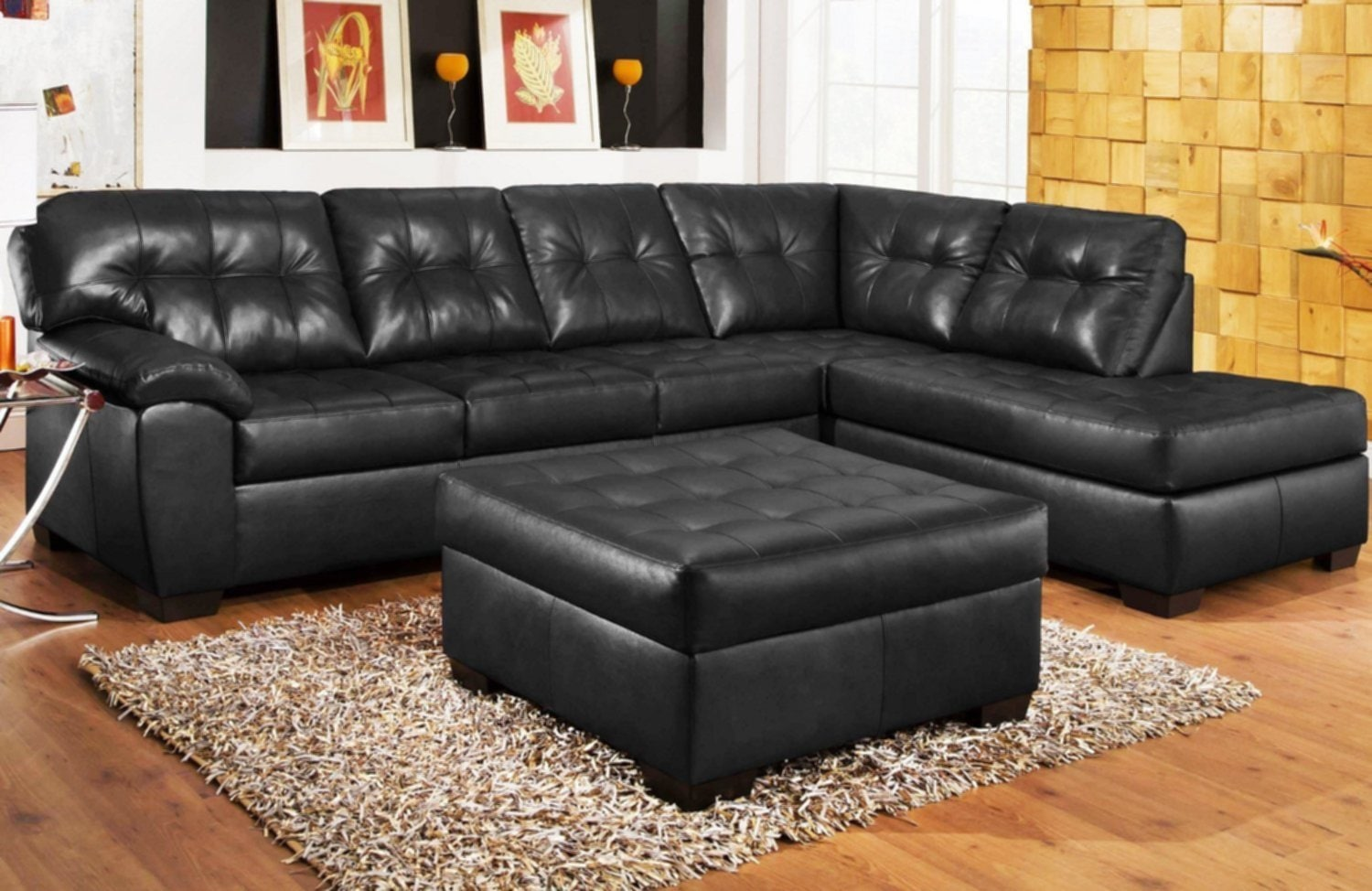 Black Leather Sectional Design