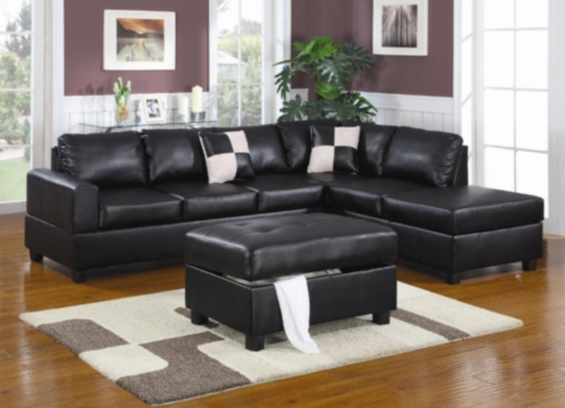 Black Leather Sectional Set