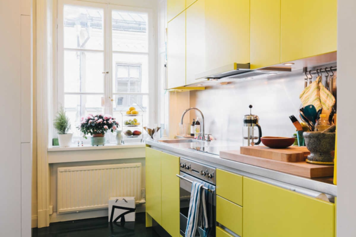 Yellow Kitchen For Limited Space