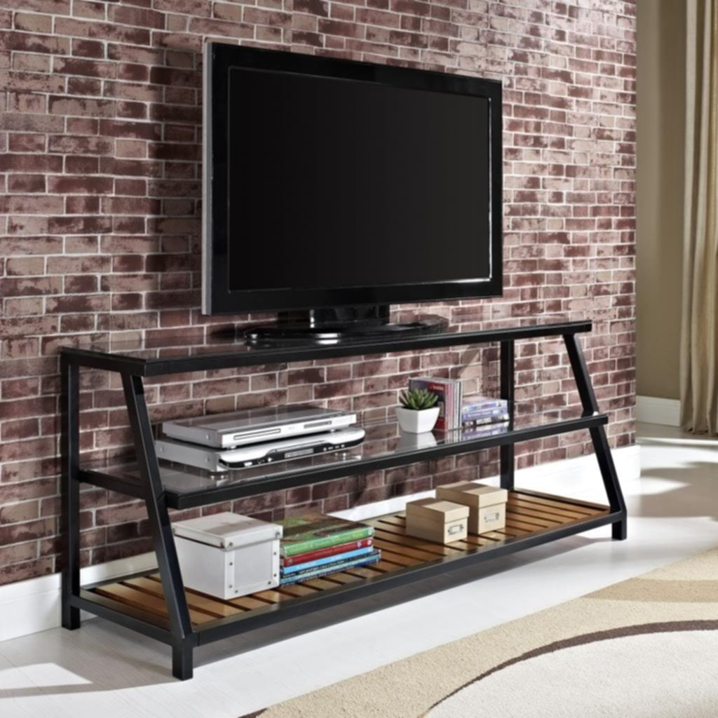Modern Glass Metal Wood Tv Console Stand Fireplace TV Stand
