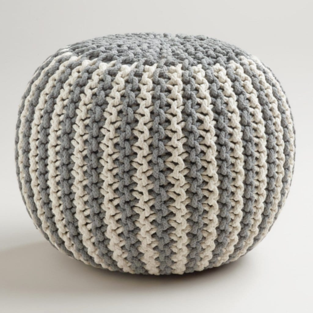 Pouf Ottoman Knit Knitted Pouf Ottoman Gift 75 100 Grey Pouf A Relaxed And Comfortable