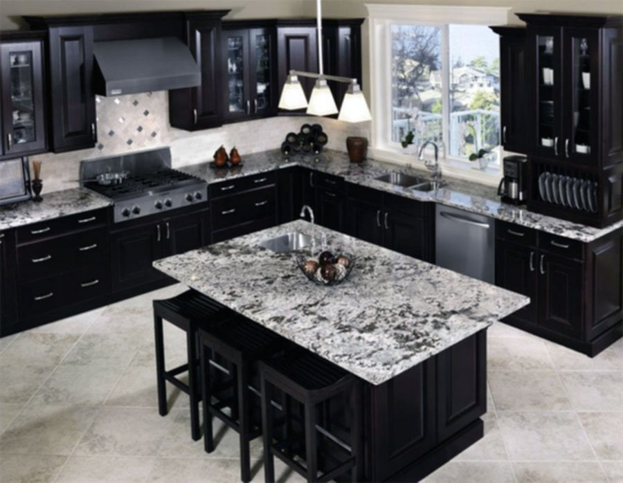 Black Kitchen Cabinet Idea Home Design Decoration Popular Granite Countertop Colors