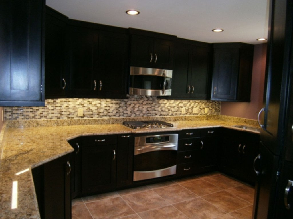 Hand Crafted Maple Kitchen Cabinets Espresso Stain Solid Popular Granite Countertop Colors