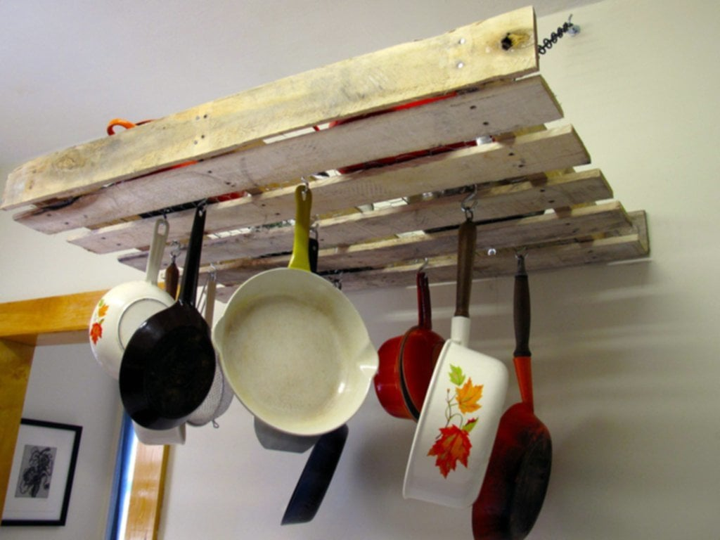 Home Improvements Pallet Pot Rack Greenpoint Kitchen Perfect Wall Mounted Pot Rack