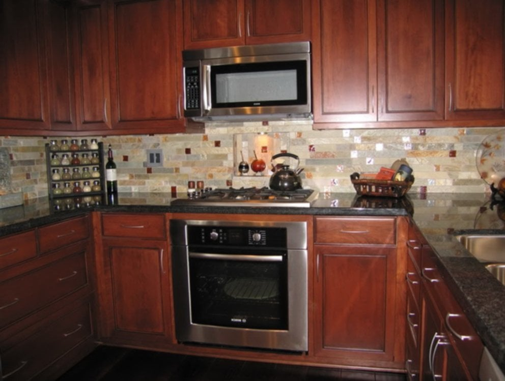 Awesome Kitchen Backsplash Cherry Cabinet Black Counter Ideas For Backsplash Ideas With Dark Cabinets